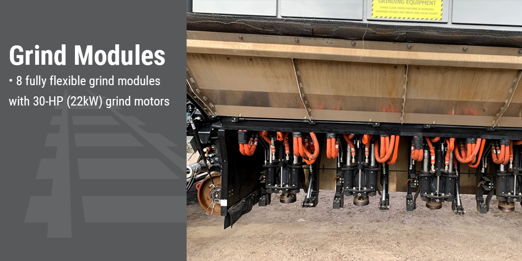 Grind Modules. 8 fully flexible grind modules with 30-HP (22kW) grind motors