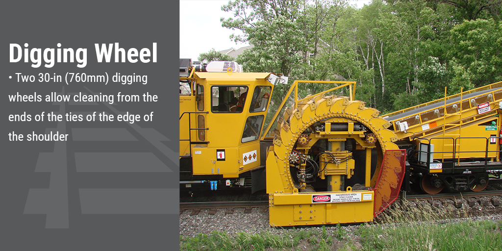 Digging wheel. Two 30-inch (760mm) digging wheels allow cleaning from the ends of the ties to the edge of the shoulder