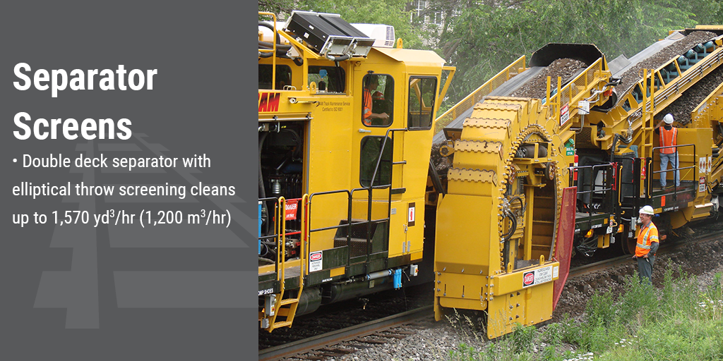 Separator screens. Double deck separator with elliptical throw screening cleans up to 1,570 yd³/hr (1,200 m³/hr)