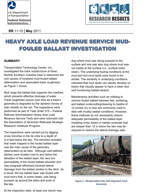 Mud Fouled Ballast Investigation