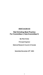 Rail Grinding Best Practices for Committee 4, Sub-Committee 9